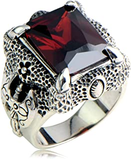 MetJakt Men's Punk Rock 925 Sterling Silver Garnet Ring & Hand Carved Dragon Claws and Ax Pattern Domineering Thai Silver Ring