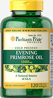 Puritan's Pride Evening Primrose Oil 1300mg Softgels with GLA, 120ct