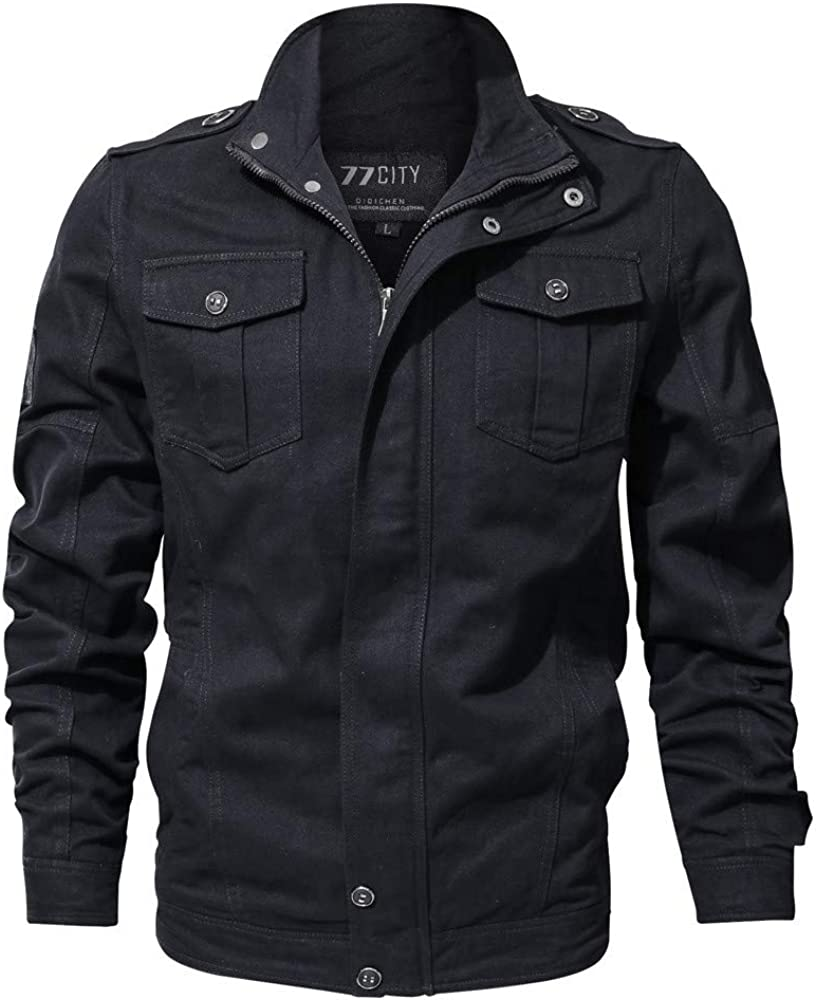FIRERO Men's Autumn Winter Casual Long Sleeve Solid Color Button Warm Tooling Jacket