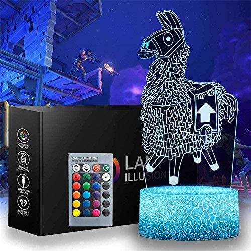 Battle Royale 3D Lama Nachtlicht – 16 Farbwechsel Dekor Lampe mit Fernbedienung und Smart Touch Weihnachten und Geschenk für Battle Royale Fortnit Fans-Fortnite-3