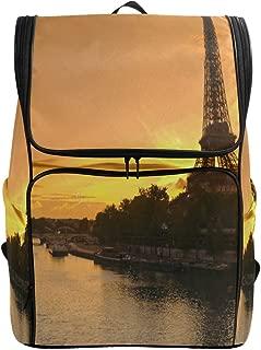 SLHFPX Travel Backpack Paris Eiffel Tower Gold Sunset Seine River Sprot Backpack for Women Big Hunting Bookbag
