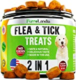 FurroLandia Chewable Flea & Tick Treats for Dogs - Made in USA - 140 Soft Chews - Natural Flea and Tick Supplement for Dogs - No Chemicals | No Mess | No Collars - Yummy Bacon Flavor