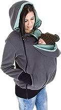 Womens Maternity Kangaroo Hoodies Fleece 3PCS Zipper Up Hooded Sweatshirt for Baby Carriers