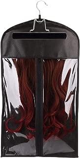 Dustproof Wig Storage Bag Hair Extension Holder Hair Hanger with Zipper Black