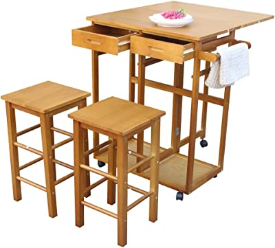 Amazon Com Mtfy Kitchen Island On Wheels Small Kitchen Table With Rolling Casters Dining Table Set With Folding Drop Leaf 2 Drawers Small Kitchen Table Set For 2 Square Stools Square Brown