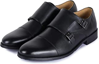 Lethato Handcrafted Men's Captoe Double Monk Strap Genuine Leather Modern Classic Dress Shoes Brown Size: