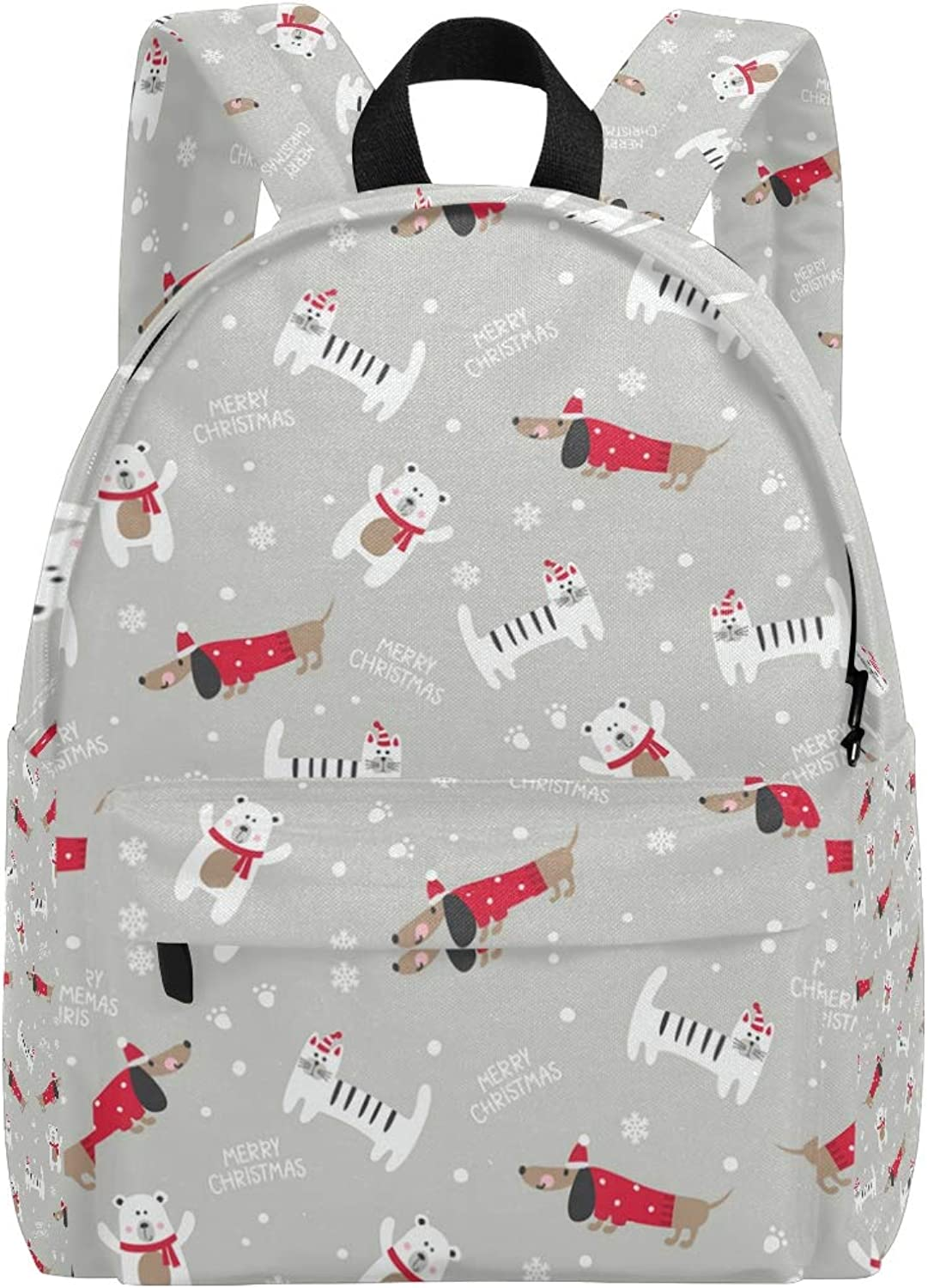 College Bookbag Cute Cats and Dachshund Dogs Print Schoolbag Unisex Backpack Hiking Daypacks Travel Sports Bags
