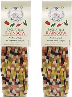 Morelli - Arcobaleno Italian Pasta Wheat Germ Semolina Tagliatelle Multi Colored Durum Wheat Pasta 8.8oz (250g) - Pack of 2