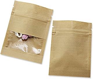 werpower 100Pcs Kraft Paper Window Bag Zipper Lock Smell Pro