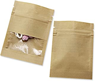 Clear Window Kraft Paper Ziplock Food Storage Bag Resealable Heat Sealable Grease Proofing Pouches Smell Proof Sample Stuff Tea Coffee Packet (100, Brown 2.7x3.5 inch (Inner Size 2.36x2.36 inch))