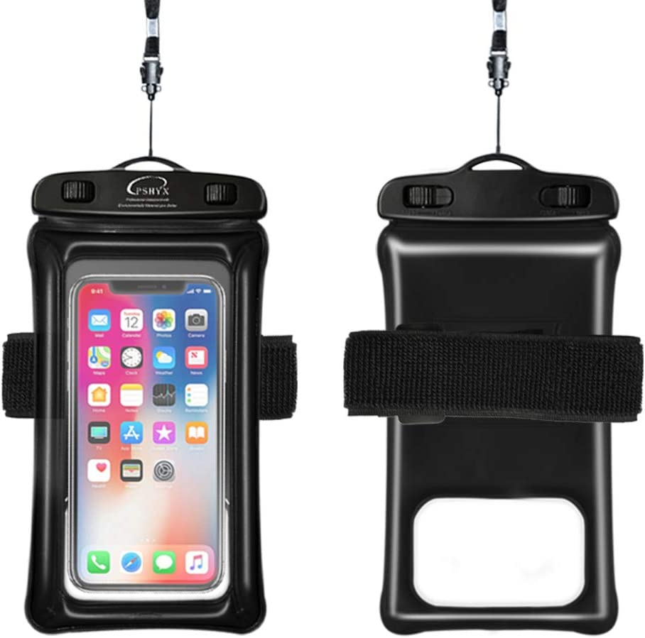 PSHYX Waterproof Phone Pouch Floating,Universal Waterproof Phone Case,Cell Phone Dry Bag with Arm Band and Lanyard for iPhone/SAM/,Google/LG and Other Phones Size up to 7 Inches(1 Pack)(Black)