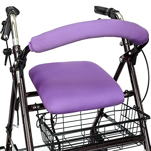 """Top Glides""""Playful Purple"""" Universal Rollator Walker Seat and Backrest Covers (Purple)"""