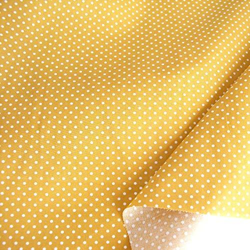 TOLKO Baumwollstoff aus Oeko-Tex Baumwolle | Bunt kräftige Farben | weiche Baumwoll-Popeline zum Nähen Dekorieren | Kleiderstoff Dekostoff Bezugsstoff Meterware 50cm (Ocker Weiße Punkte)