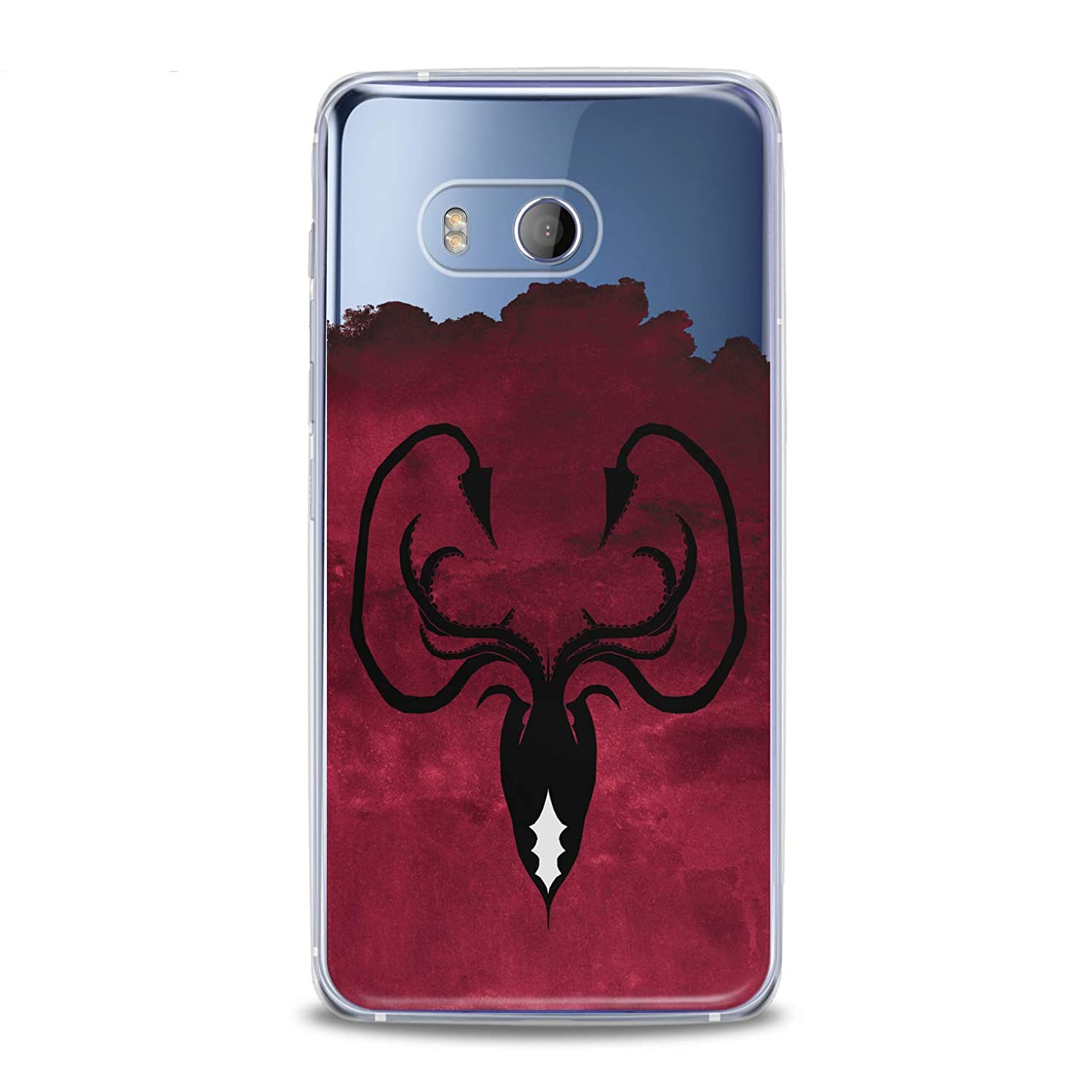 Lex Altern TPU Case for HTC Desire 12 Plus U12 Plus U11 Life Dual Sim Greyjoy Flexible Octopus Symbol Gift Smooth Black Print Slim fit Game of Thrones Cover Soft Clear Red Design Kingdoms Lightweight
