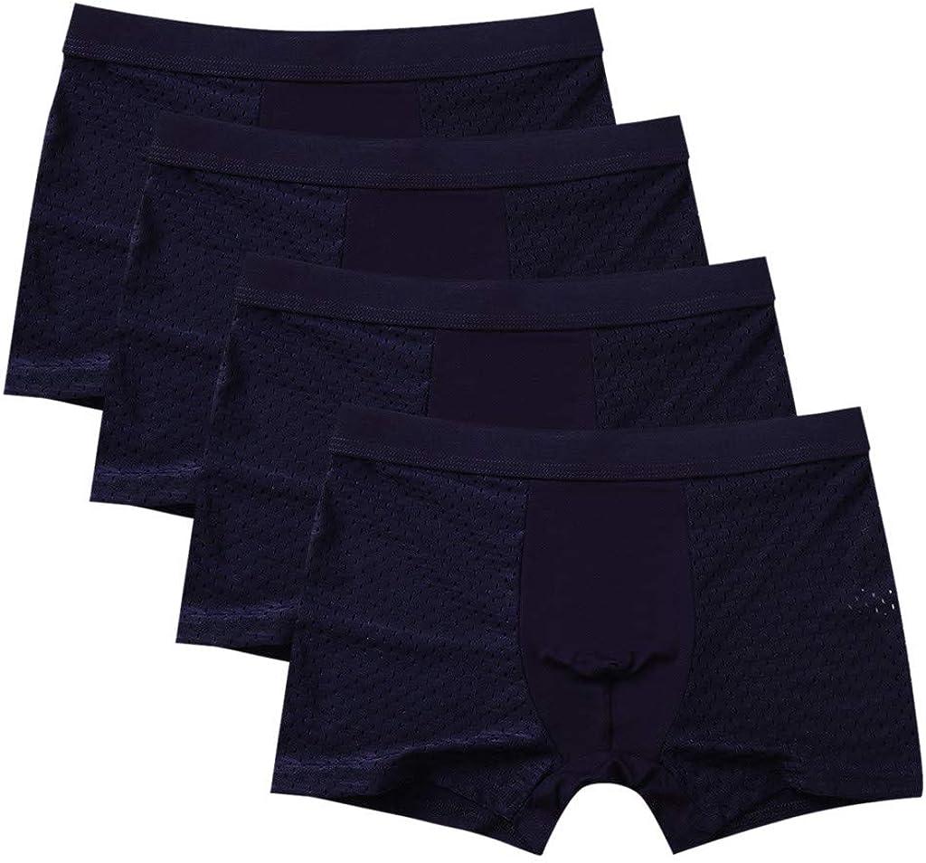 Gergeos 4PCS Men's Summer Boxer Briefs Breathable Stitching Sexy Comfortable Shorts Underpants Underwear