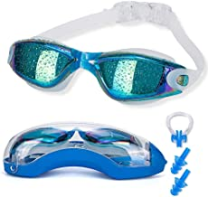 Asehuoz Swimming Goggles Anti Fog Shatterproof UV Protection,No Leaking with Silicone Nose Clip Ear Plugs and Protection Case Swimming Goggles Suit for Men Women Kids