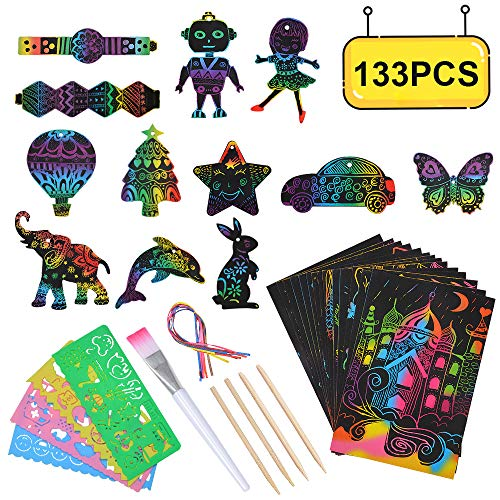 SunnyMemory Scratch Paper Art Set Crafts for Kids, 133pcs Rainbow Scratch Paper for Kids Arts and Crafts Supplies Kits for...