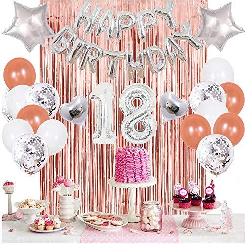 Juego de decoración de cumpleaños para 18 cumpleaños, decoración de fiesta de cumpleaños, globos con diseño de fondo