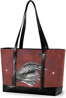 N/Q Explore Adler rote Damen-Handtasche aus Segeltuch mit Tragegriff oben, große Kapazität, Laptoptasche, Tablet-Tasche 37,7 x 13,9 x 28,3 cm