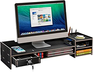 $79 » WH-ZGJ Computer Monitor Heightening Office Supplies Desktop Storage Box Keyboard Sorting Rack Display Stand Riser (Color : Black)