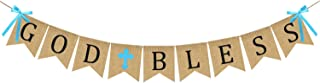 God Bless Baptism Banner Burlap - First Communion Party Banner - Vintage Bunting Garland Christening Decoration Supplies for Wedding, Baby Shower Party - Blue