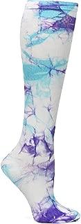 Women's 12-14 Mmhg Compression Trouser Sock Lilac Aqua Tie Dye