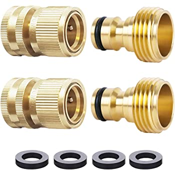 HQMPC Garden Hose Quick Connect Solid Brass Quick Connector Garden Hose Fitting Water Hose Connectors Garden Hose Disconnect 3/4 inch GHT (2Sets) (2Female+2Male)