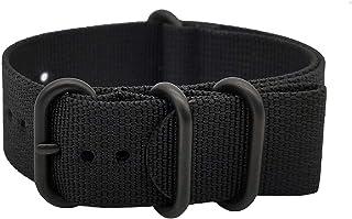 Masar 18mm à 24mm Zulu Heavy Duty - Bracelets raide et épais en Nylon pour Montre – Livrée avec 4 Barrettes à Ressort Premium