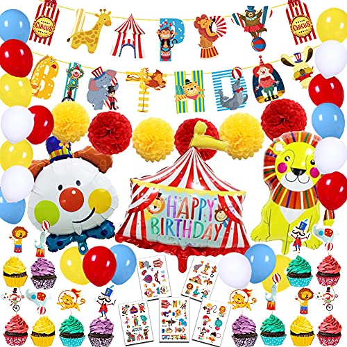 59Pcs Carnival Circus Party Decorations for Kids Circus Animals Party Supplies Carnival Circus Happy Birthday Banner Clown Circus Birthday Balloons Cupcake Toppers Circus Tattoos Party Decorations for Kids Boys Girls Baby Shower