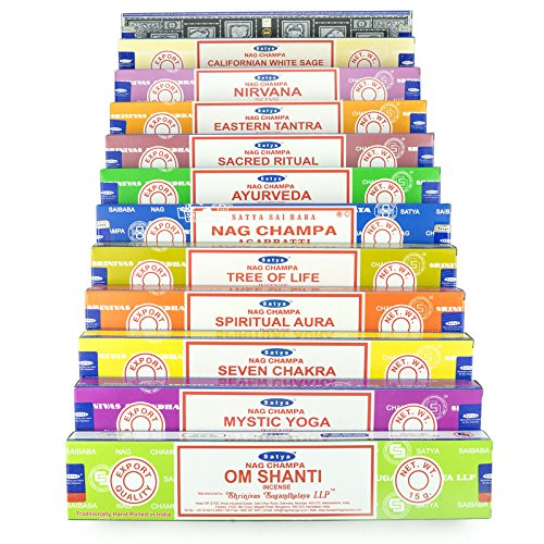 Satya Nag Champa Om Shanti Incienso Conjuntos 12 x 15 Gramos Serie 3 (Set AA)