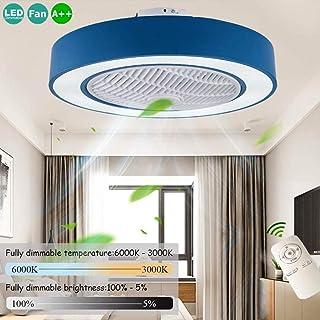 Ventilador De Techo Con Iluminación LED 72W Lámpara Moderna Del Dormitorio De Techo Luz Ultra Silencioso Regulable Con Lámpara De Techo Control Remoto De La Sala De Estar Puede Sincronización,Azul
