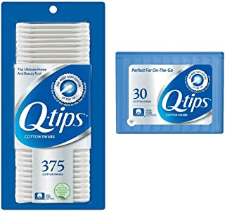 Q-tips Cotton Swabs, 375 ct and Travel Holder Case for a Purse