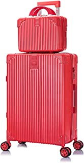 """Women&Men Luggage,Boarding Trolley Case,Suitcase Universal Wheel College Student Box (20-26""""Suitcase and 12""""Cosmetic Bag),A,26inches"""