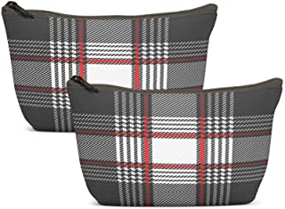 Ansote Autumn Winter Cosmetic Bags Checkers Stripes Trendy Fabric French Motifs Seamless Pattern Grey Red Palette Template...