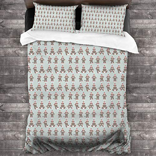 "HAIDILUN Sock Monkey 3-Piece Bedding Set,All-Season Quilt Duvet Cover with 2 Pillowcases, Soft Zipper Bedspread Coverlet No Comforter 86""x70"""