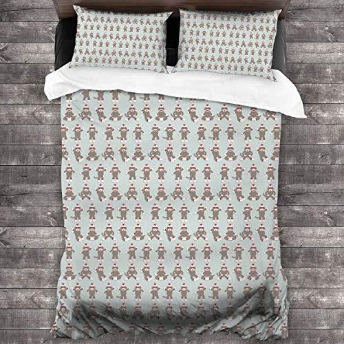 HAIDILUN Sock Monkey 3-Piece Bedding Set,All-Season Quilt Duvet Cover with 2 Pillowcases, Soft Zipper Bedspread Coverlet No Comforter 86'x70'