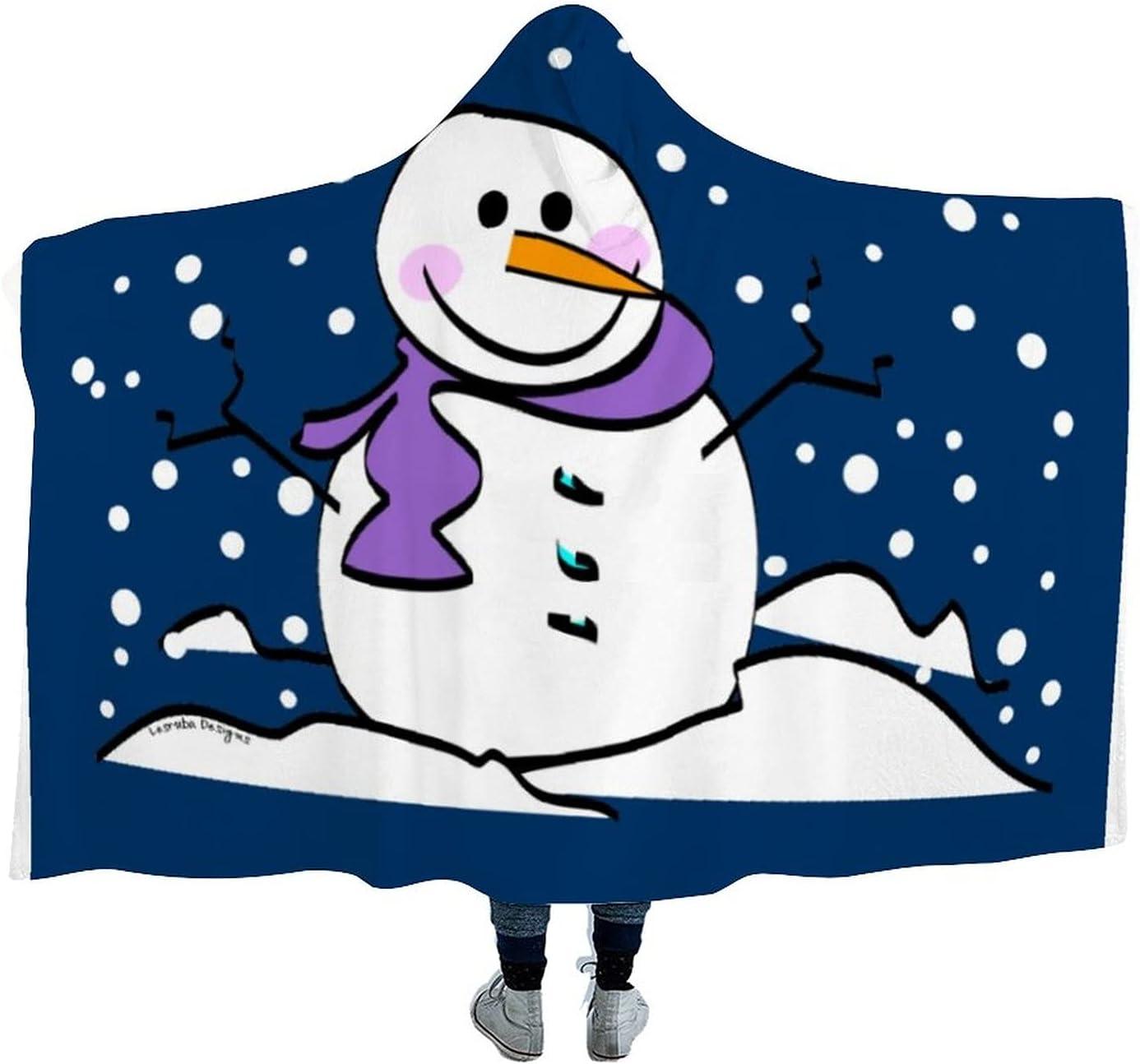 Winter Snowman Large-scale sale Wearable Hooded Blanket New popularity Cloak Throw Microfiber fo