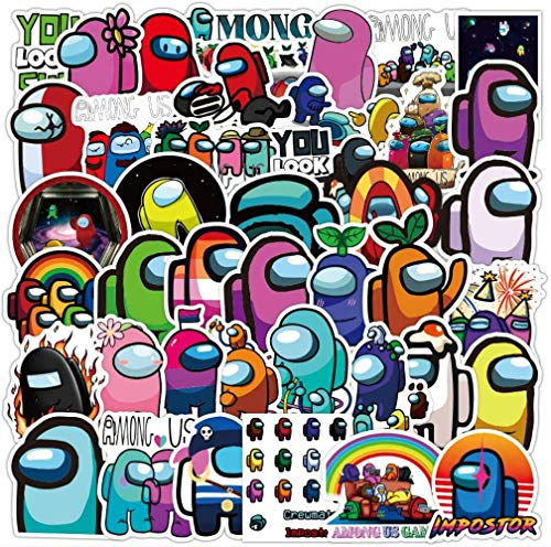 Modou 50Pcs Among Us Waterproof Vinyl Stickers Decals for Laptop Water Bottles Bike Skateboard Luggage Computer Hydro Flask Toy Phone Snowboard. DIY Decoration as Gifts for Kids Girls Teens