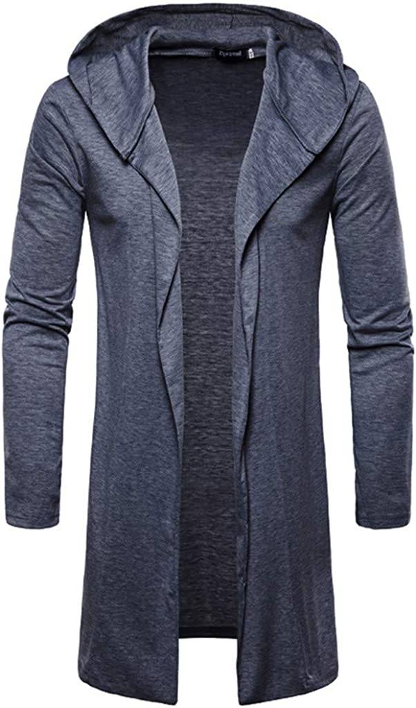 Mens Open Front Long Sleeve Sweater Draped Lightweight Hooded Cardigan with Pockets
