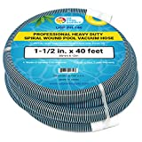 U.S. Pool Supply 1-1/2' x 40 Foot Professional Heavy Duty Spiral Wound Swimming Pool Vacuum Hose with Swivel Cuff