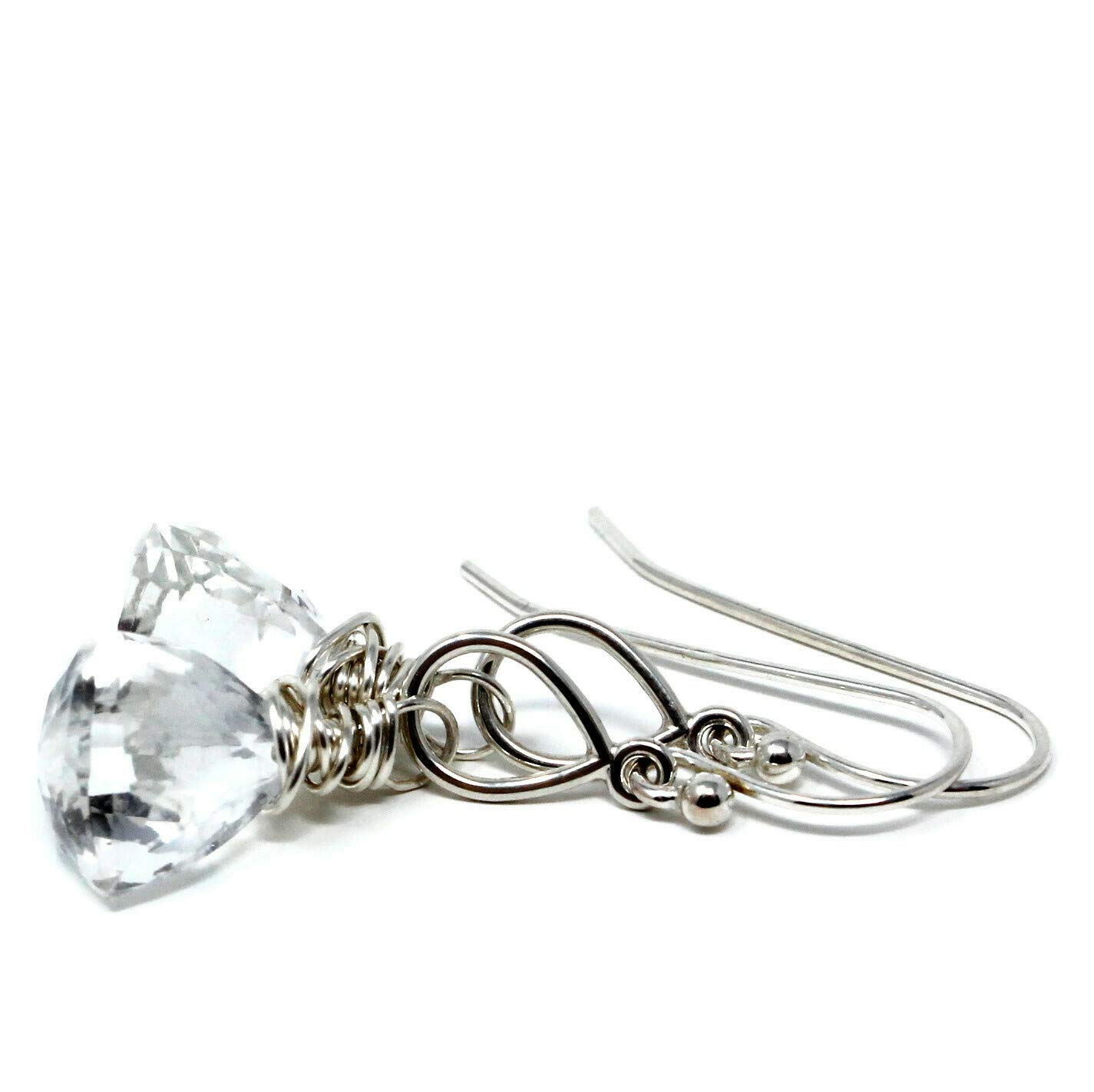 Crystal Quartz Earrings Sterling High quality new Max 69% OFF Trilliant Faceted Petite Silver