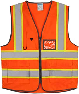 SHORFUNE High Visibility Safety Vest with Pockets, Mic Tab, Reflective Strips and Zipper, Orange, ANSI/ISEA Standards, L