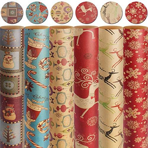 heekpek Papel de Regalo Kraft Navidad Papel Envolver Regalos Reciclable Papel kraft de Elementos Navideños de Impresión Rollo de Papel de Regalo