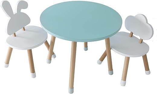 KYWAI – Kindertisch mit 2 Stühlen, aus Holz, weiß, klein, rund, nordischer Stil.Kinderzimmer.Table with 2 chairs.