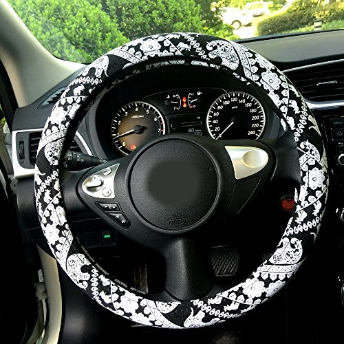 Rayauto 38cm/15inch Automotive Ethnic Cloth Wrap Cute Elephant Universal Car Steering Wheel Cover (Black&White)