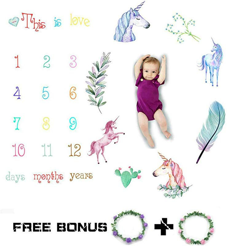 Baby Monthly Milestone Blanket Unicorn Woodland Personalized Photography Props Backdrop Blankets For Newborn Swaddling Boy Girl Baby Shower Gifts W Two Free Flower Headband