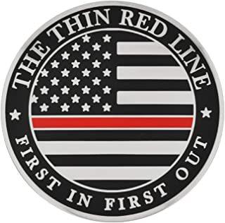 PinMart Thin Red Line Fire Dept Fireman Engraved Personalized Challenge Coin
