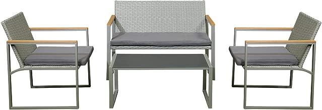 Pan Emirates Home Furnishings Flexform 4-Pieces Garden Sofa Set, Grey - 75 x 60 x 106 cm