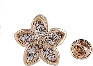 9c42f4cdf9b Lapel Pin 2CM Clear Rhinestone Crystal Brooch Pin Flower Crown Fishbone Eye  for Women Girls Gift