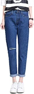 Spring Summer Women Loose High Waist Ninth Jeans with Hole